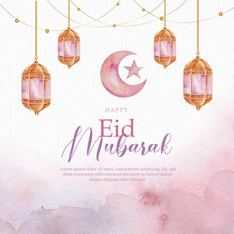 Purple of crescent moon eid mubarak watercolor greeting card