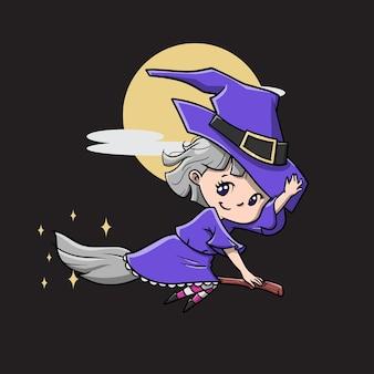 Фиолетовый милый чиби ведьма векторные иллюстрации