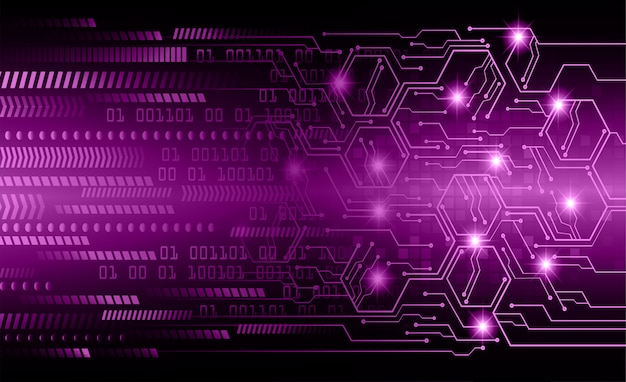 Purple cyber hexagon circuit future technology concept background