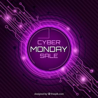 Purple cyber monday design in flat style