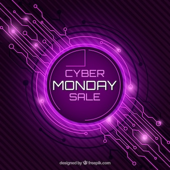 Purple cyber monday design in flat style