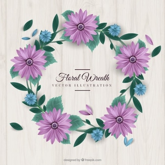 Purple daisies wreath with leaves