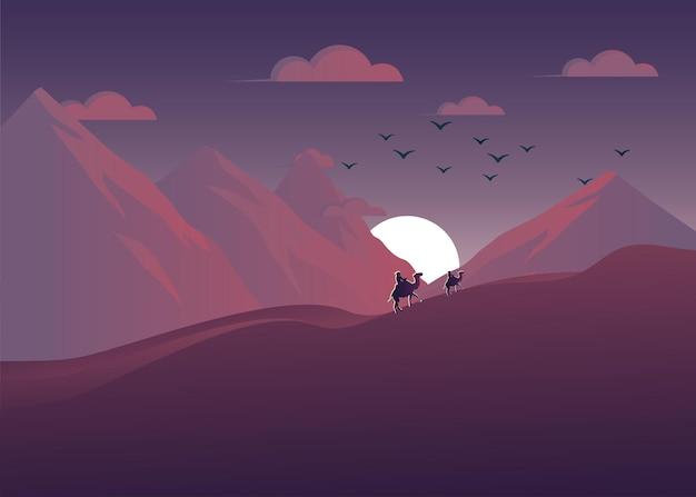 紫の砂漠の風景イラスト