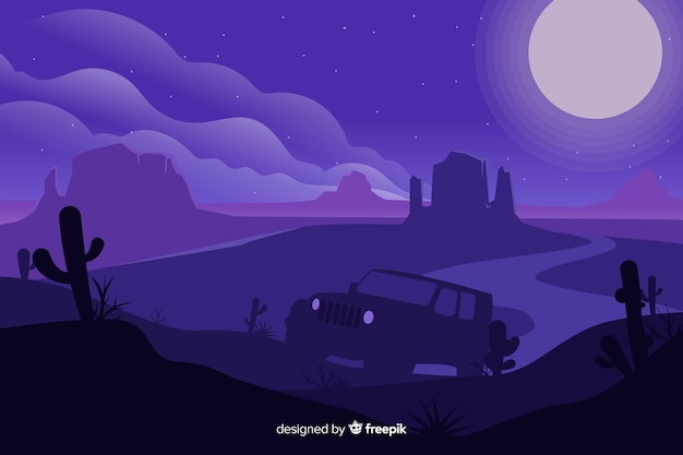 Purple desert landscape with car