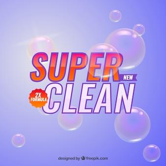 Purple detergent with bubbles background