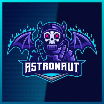 紫悪魔宇宙飛行士eスポーツとモダンなイラストのコンセプトを持つスポーツマスコットロゴデザイン