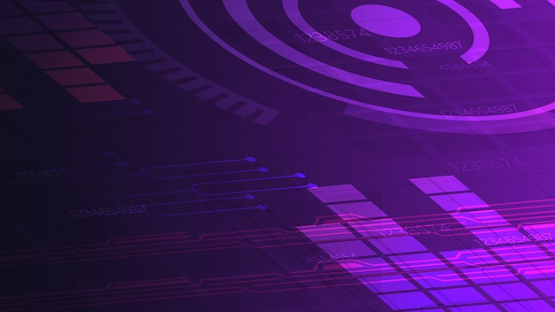 Purple digital background for your creativity with graph, paths and abstract circle