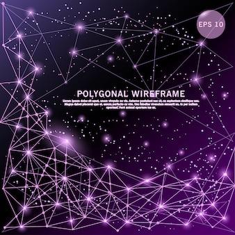紫色の未来的な低ポリワイヤーフレームがデジタルで描かれています。