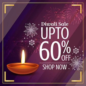 Purple discount voucher with a candle for diwali
