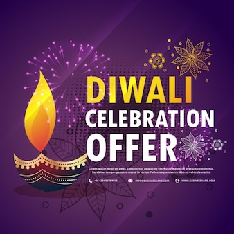 Purple discount voucher with fireworks for diwali
