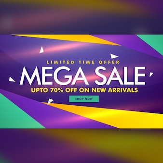 Purple discount voucher with geometric shapes