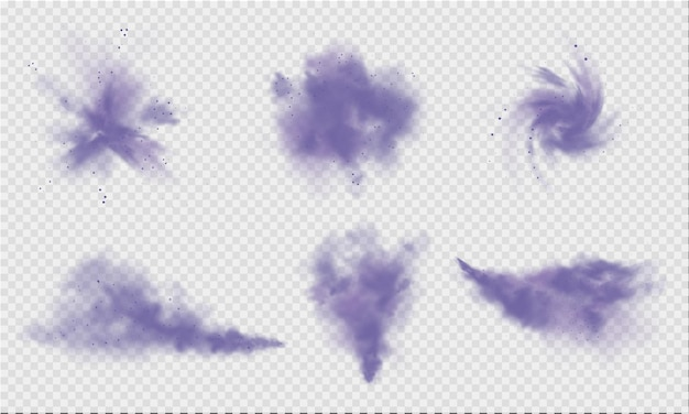 Purple dust or fog violet smoke or dust isolated on light transparent background