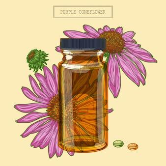 보라색 에키 네시아 꽃과 유리 병과 알약