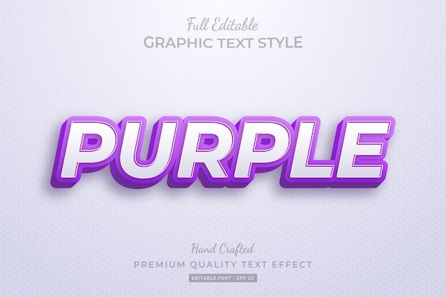Purple editable 3d text style effect premium
