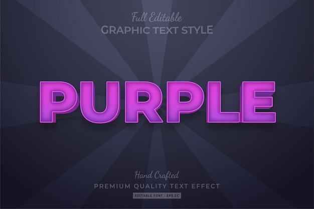 Purple editable custom text style effect premium Premium Vector
