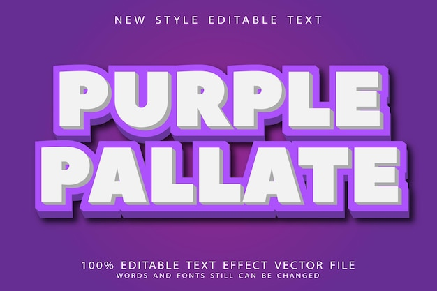 Purple editable text effect emboss modern style