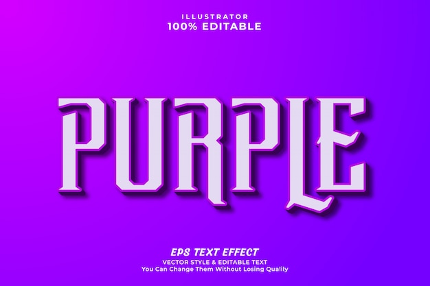Purple editable text effect style, premium