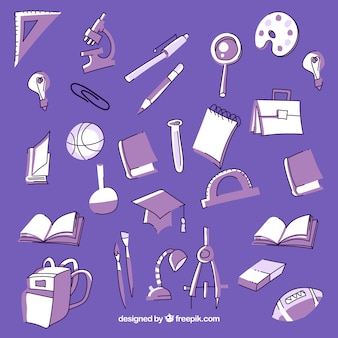 Purple education background with elements