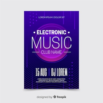 Purple electronic music poster template