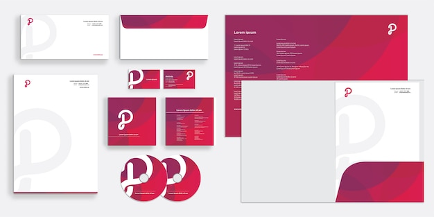 Purple elegant modern corporate business identity stationary