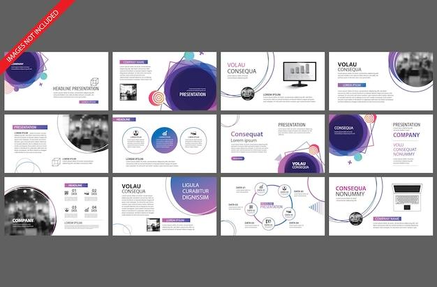 スライドプレゼンテーションテンプレートのための紫の要素。