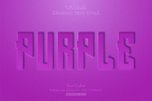 Purple embossed editable text effect font style