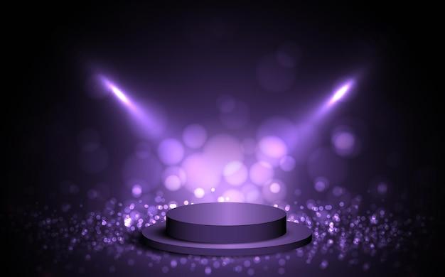 スポットライトとディスプレイの背景に使用される紫色の空の部屋のスタジオグラデーション。ベクトルデザイン。