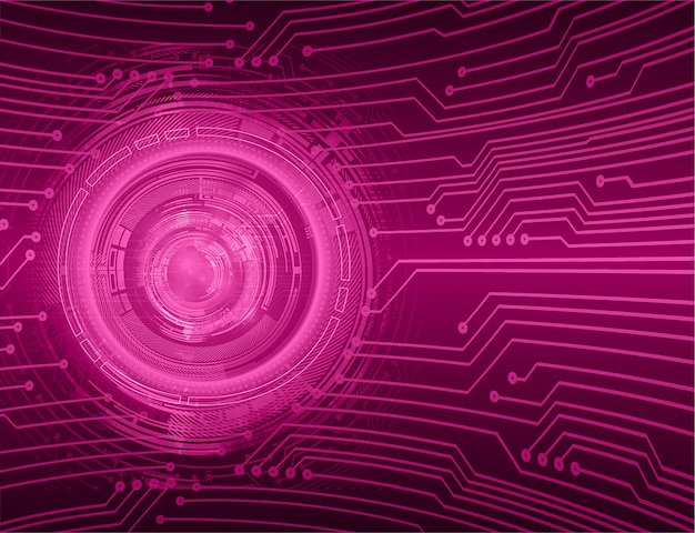 Purple eye cyber circuit future technology background