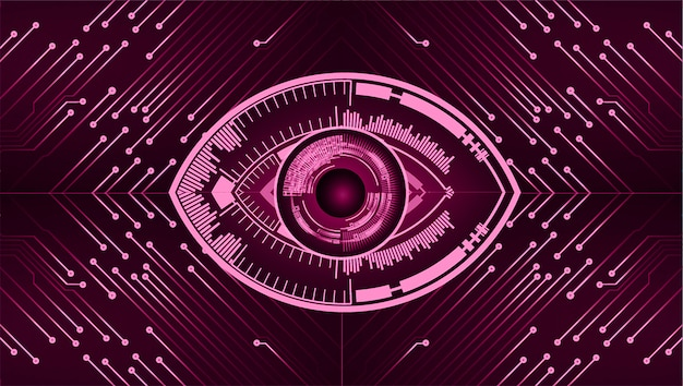 Purple eye cyber circuit future technology concept background
