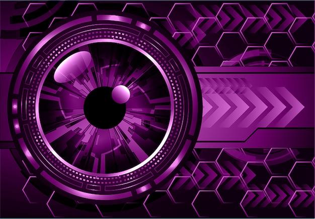 紫色の目サイバー回路未来技術コンセプトの背景