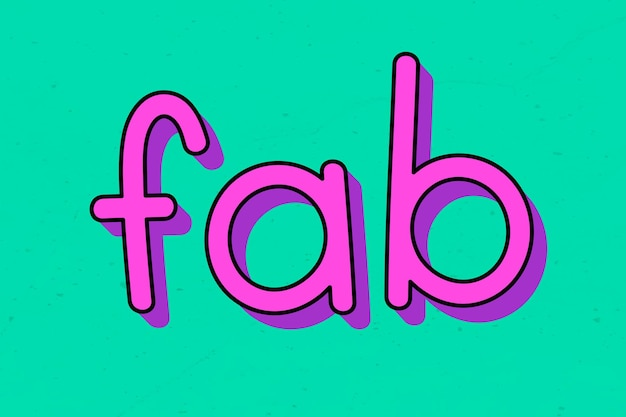 Purple fab typography on a green background