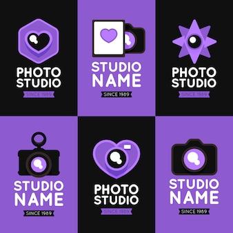 紫のフラットデザインカメラのロゴコレクション