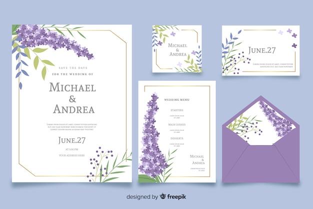 Purple flat design of wedding stationery template