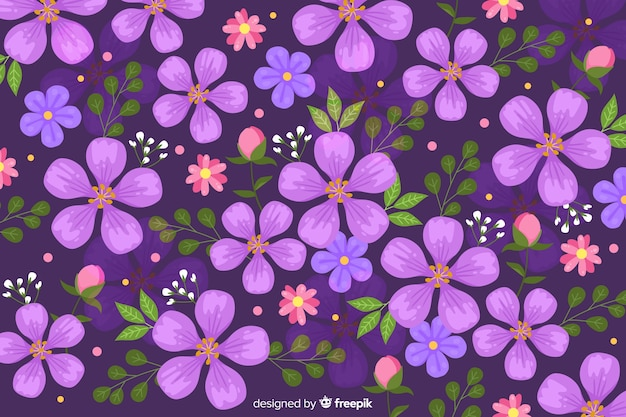 Purple floral background flat design