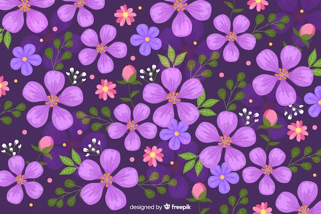 紫色の花の背景のフラットなデザイン