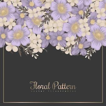 Purple floral background flower border