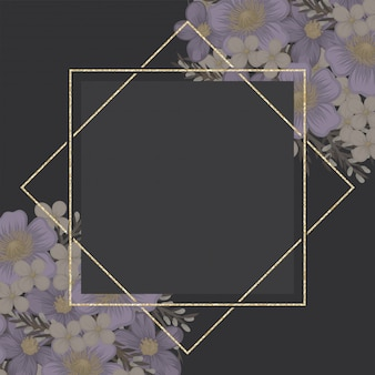 紫色の花の背景の花のボーダー