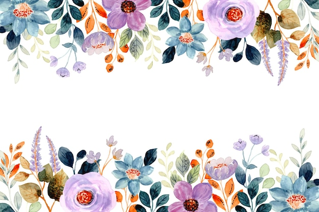 Purple floral background with watercolor