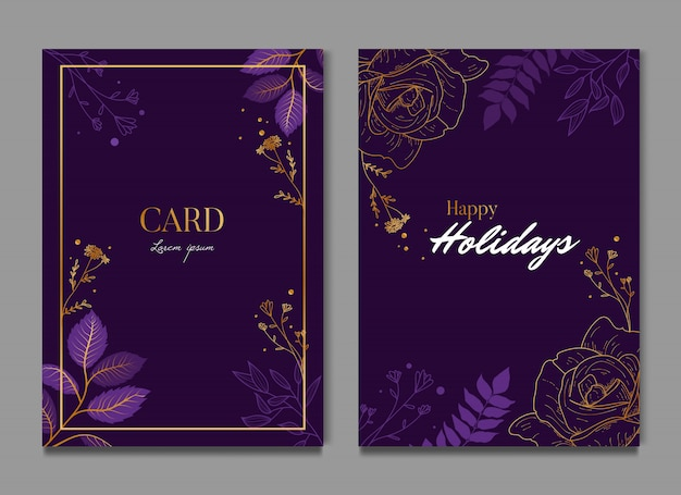 Purple floral elegant card