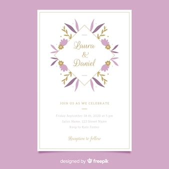 Purple floral frame wedding invitatio in flat design