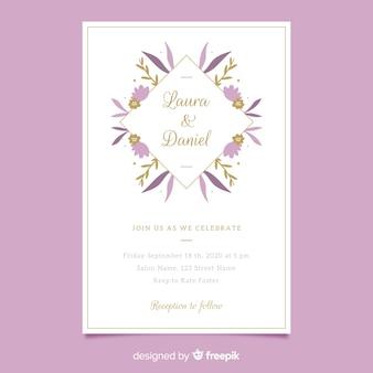 フラットなデザインの紫の花のフレームの結婚式の招待状