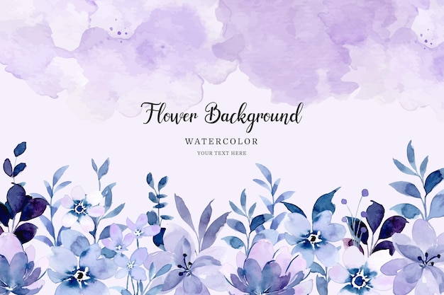 Purple floral garden background with watercolor