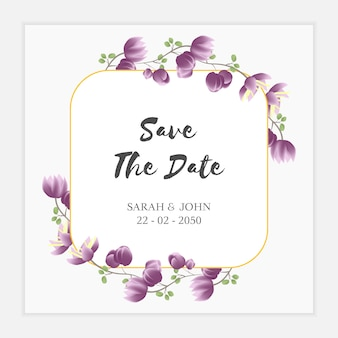 Purple floral save the date card template
