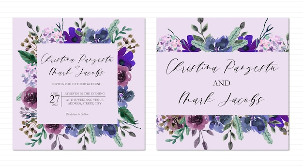 Purple floral square framed watercolor wedding invitation