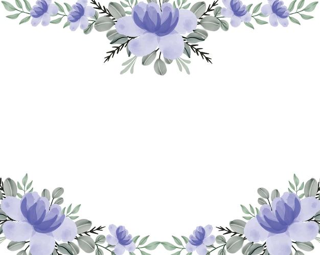 Purple floral watercolor border background
