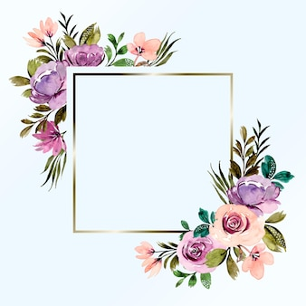 Purple floral watercolor frame background