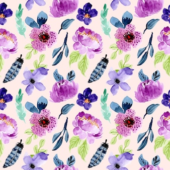 Purple floral watercolor seamless pattern