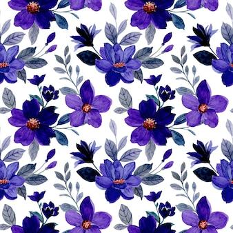 보라색 꽃 수채화 원활한 패턴