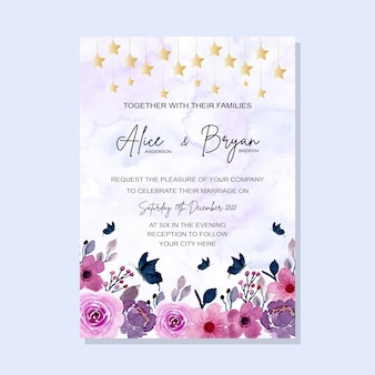 Purple floral wedding invitation card with watercolor