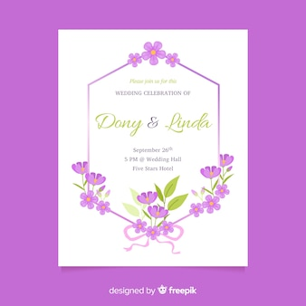 Purple floral wedding invitation template in flat design